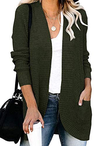 VIMPUNEC Womens Cable Knit Chunky Cardigans Boyfriend Long Sleeve Tops Open Front Sweaters Army Green