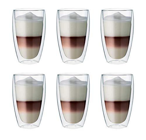 Maxxo Doppelwandige Gläser Laté Macchiato Set 6x 380 ml Kaffee Thermogläser mit Schwebe-Effekt beständige Kaffeegläser beständige Trinkgläser