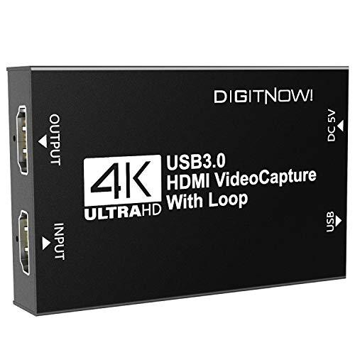 4k Capturadora de Vídeo HDMI con Salida de Bucle, Captura de Video HDMI USB 3.0 Dispositivo, Full HD 1080P para transmisión en Vivo, videoconferencia, enseñanza, Juegos