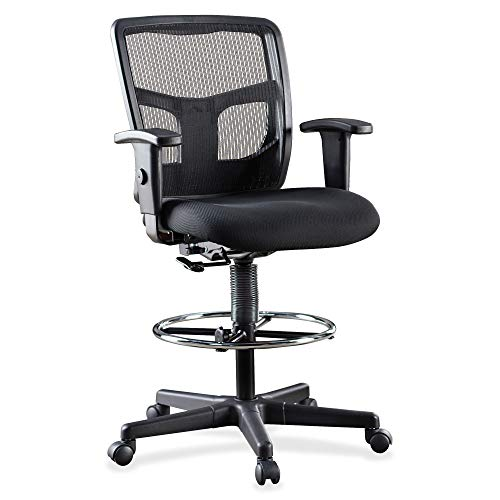 Lorell LLR86801 Ratchet Mesh Mid-Back Stool Chair 2.6' Height X 75.8' Width X 27.3' Length Black