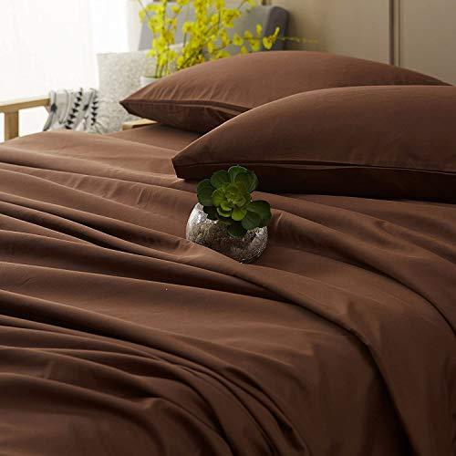 Escon Home Decore 6 Piece Bamboo Sheets 100% Organic Bamboo Sheets Cooling Sheets Bed Sheets Queen Size, Chocolate Sheet Set