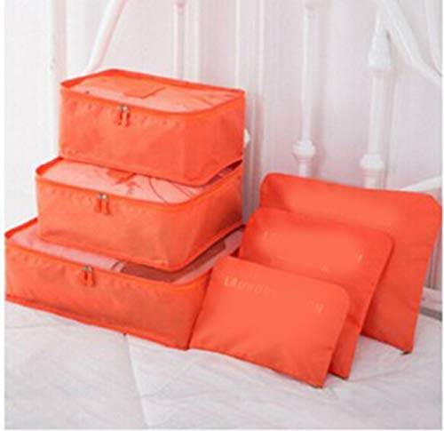 GAOWF 6PCS Packing Cubes for Travel Luggage Organiser Bag Compression Pouches Clothes Suitcase, Packing Organizers Storage Bags for Travel Accessories,Orange
