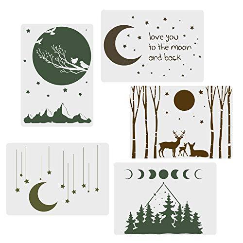 CODOHI 5 Packungen Mondsterne Schablonen Nachthimmel Elch Wald Muster Mondphase Kunst Wiederverwendbare Mylar Vorlage für Journaling, DIY Home Decor 21x 29,7 cm
