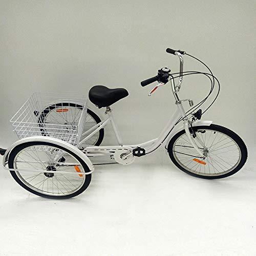 Triciclo de 24 pulgadas para adultos, 6 velocidades, bicicleta para adultos, 3 ruedas, bicicleta de carga con lámpara y cesta adecuado para hombres, mujeres, personas mayores