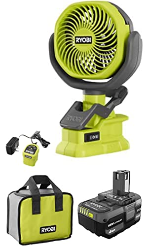Ryobi 18-Volt Personal Battery Powered Clip Fan Kit with 4.0 Ah...