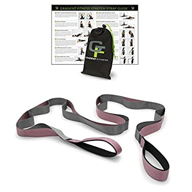 Gravity Fitness Stretching Premium Quality Multi-Loop Strap, Neoprene Padded Handles, 12 Loops, Pink and Grey