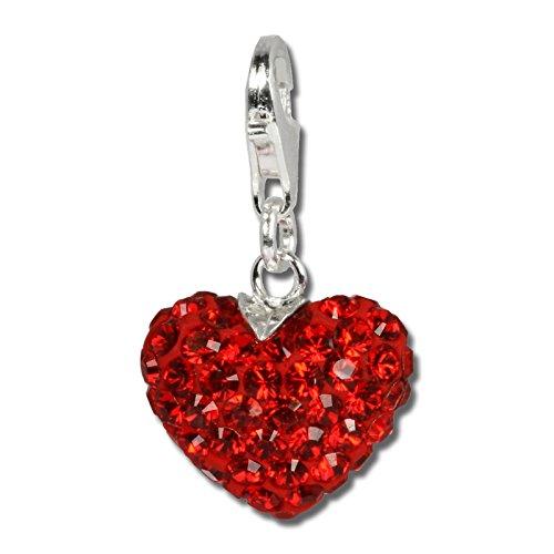 SilberDream Glitzer Charm Feuriges Herz rot Swarovski Kristalle SHINY Anhänger 925 Silber für Bettelarmbänder Kette Ohrring GSC304
