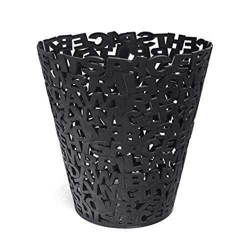 Depory Papelera Letters Color Negro Plástico Cubo de Basura Moderno 30cm
