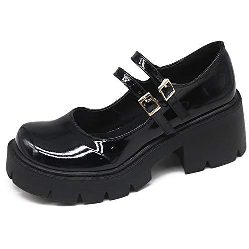 CYNLLIO Women's Vintage Double Ankle Strap Mary Jane Shoes Block Heels Platform Lolita Shoes Harajuku Platform Gothic Shoes