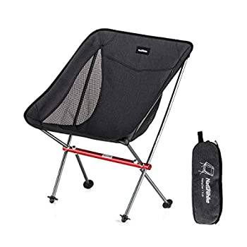 Naturehike Portable Camping Chair - Compact Ultralight Folding Backpacking Chairs Small Collapsible Foldable Packable Lightweight Backpack Chair in a Bag for Outdoor Camp Picnic Hiking  Black