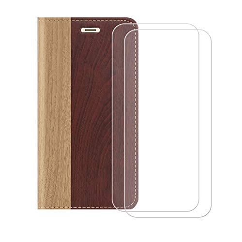"""Wallet Case for ZTE Zmax 10 (6.52"""") + [2 Pack] Tempered Film Glass Screen Protector,YZKJ Flip PU Leather Case with Credit Card Slots and Stand Protective Cover - Red Wine"""