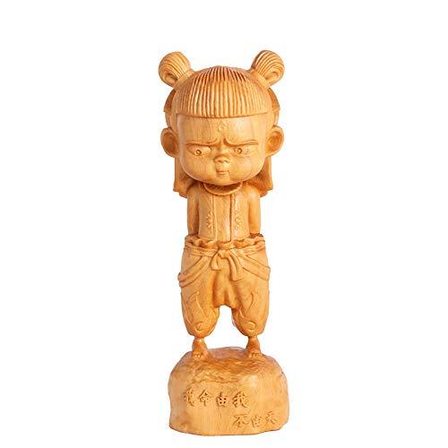 Nezha's of Demon Boy Reencarnated Statues, decoraciones de coches Lindas decoraciones dominantes de madera Wenwan artesanía
