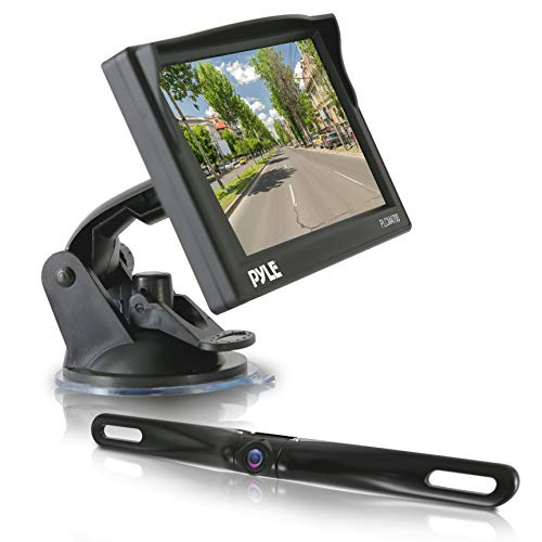 """Pyle Car Rearview Backup Camera - Reverse Parking Sensor, HD 7"""" LCD Mirror Screen Monitor, Distance Scale Line, Waterproof, Night Vision, 170 Wide Angle Lens, Swivel Angle Adjustable Cam - PLCM7500_0"""