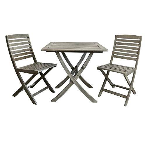 PiuShopping Set Tavolo da Balcone con 2 sedie in Legno di Acacia Grigio, 80x80