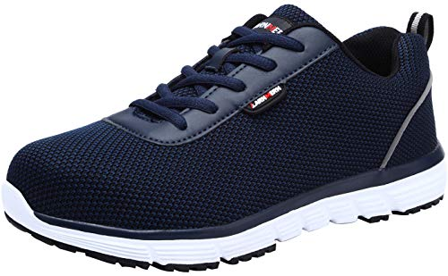 LARNMERN Scarpe Antinfortunistica Uomo Estive, Leggero SRC Anti Statico Lavoro S1 Sneaker (48 EU, Blu)