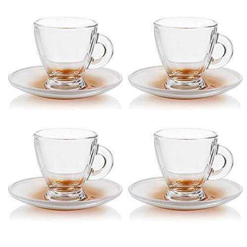 Espressotassen Set Mokka-Tassen Espresso-Gläser mit Unterteller für Kaffee und Espresso, 8-teilig, Füllmenge: 95ml