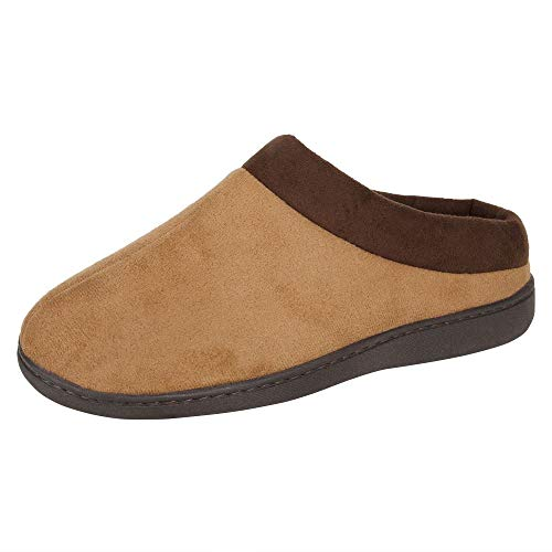 Hanes Men's Memory Foam Indoor Outdoor Microsuede Clog Slipper Shoe with Fresh IQ, Tan, Large