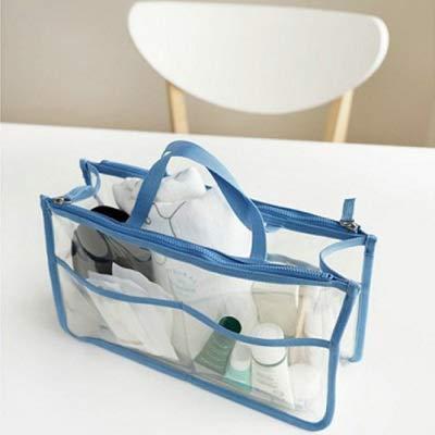Mode PVC Transparent cosmétique Sac Femmes Organisateur Voyage Sac de Maquillage Clair Sacs de Plage de Grande capacité Poratable Sacs Toilette (Color : Blue)