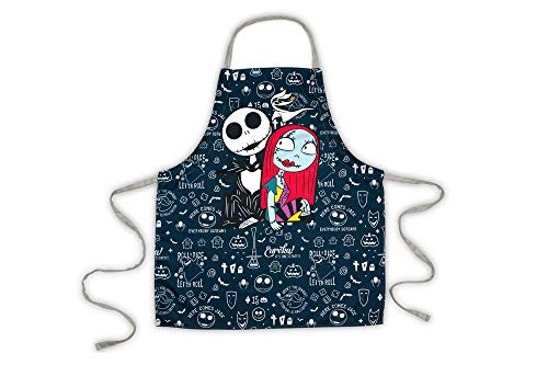 Nightmare Before Christmas Apron with Jack & Sally and Adjustable Straps - Stylish Kitchen Accessory Featuring Tim Burton's Claymation Classic - Great for Cooking, Crafts and More