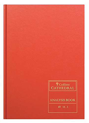 Collins Debden Ltd 060602 69 Series Cathedral A4 Analysis Book, 14 Cash Columns, 96 Pages, Red