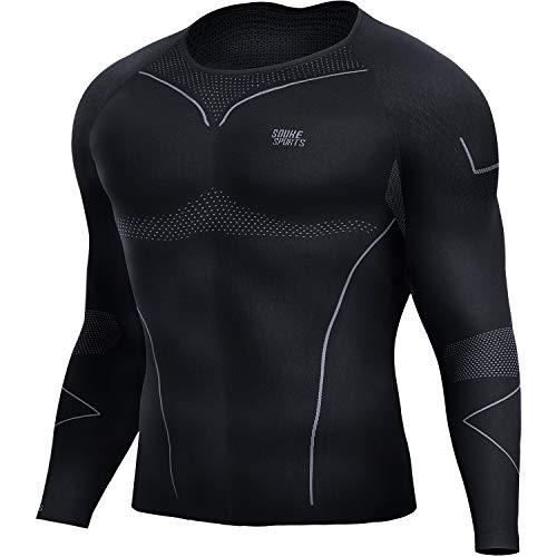 Souke Sports-Camiseta Compresion Hombre Manga Larga,Baselayer Camisetas Deportivas para Ejercicio Gimnasio Entrenamiento Cruzado Correr Pilates Ciclismo