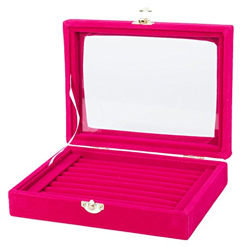 Basage Caja organizadora de cristal de terciopelo para pendientes y anillos, color rojo rosa