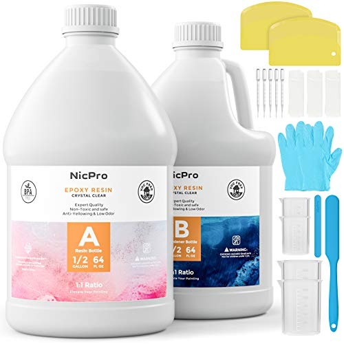 Nicpro 1 Gallon Epoxy Resin Bulk Kit Crystal Clear, Art Resin for Craft, Tumblers, Wood Tabletop, Molds Pigment River Tables, Bar Top, Coating and Casting with Silicone Sticks & Measuring Cups