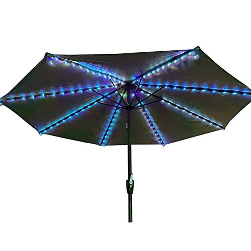 Yalatan Solar Garden Umbrella Light Cordless Sun Umbrella String Light with Clip Umbrella Pole Solar Powered Waterproof Suitable for 7-10 Feet Umbrella Outdoor Lighting Beach Party Decoration
