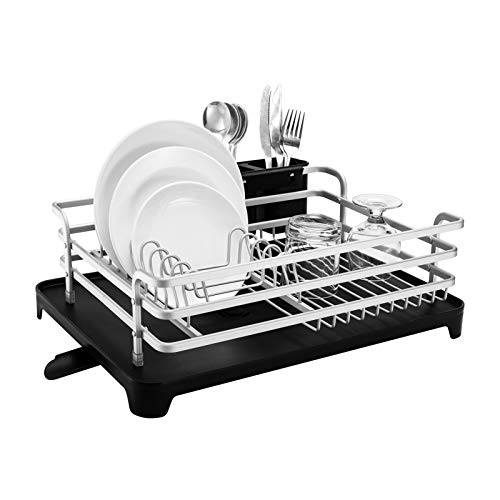 Aluminum Dish Drying Rack,HBlife Never Rust Sink Dish Drying Rack with Utensil Holder, Removable Plastic Drainer Tray with Adjustable Swivel Spout(Sliver)