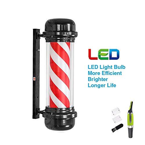 Nmoikin Poste de Barbero Giratorio Impermeable LED Luminoso para Peluquerías,Rayas Rojas, Azules y Blancas,Uso Interior y Exterior(Recortador de Pelo de Nariz, 71cm*30cm