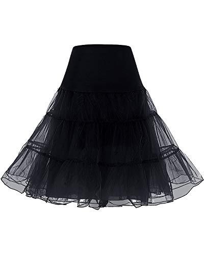 bridesmay 1950 Reifrock Petticoat Unterrock Underskirt Crinoline Rockabilly Kleid Black M
