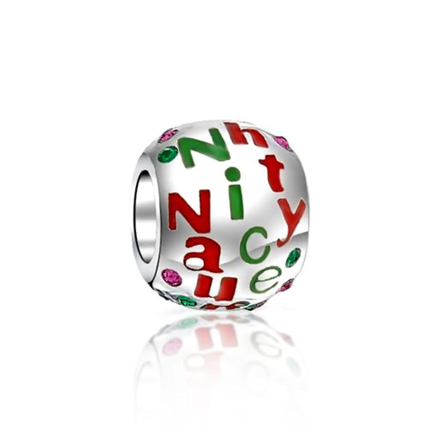 Christmas Naughty Nice with Crystal 925 Sterling Silver Bead Fits European Charm Bracelet