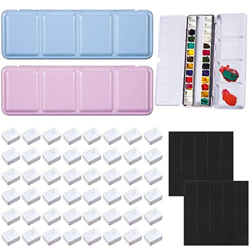 52 Pieces Empty Watercolor Tins Box Set, 2 Portable Palette Paint Case Metal Watercolor Box, 48 Empty Watercolor Half Pans, 2 Sheets Magnets for Watercolor Oils or Acrylics Palette Travel Tins