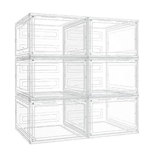 핑크팜 슈 스토리지 6팩 슈 박스 클리어 플라스틱 스택블 스니커즈용 슈 조직자 사이즈 12(화이트)
