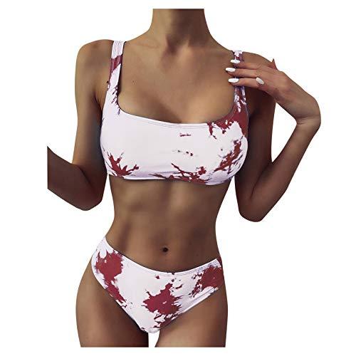 Conjunto de Bikini de Pierna de Corte Alto con Estampado de Rayas Sexy para Mujer, Traje de baño de Dos Piezas
