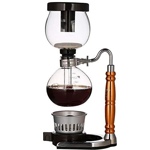 Lpinvin Kaffeesiphon DREI-Farben Optional Kaffee Syphon Syphon Pot Muster Haushalts Syphon Kaffeemaschine Set Siphon Filter Kaffeemaschine (Farbe : Gold, Size : 35.2x11cm)