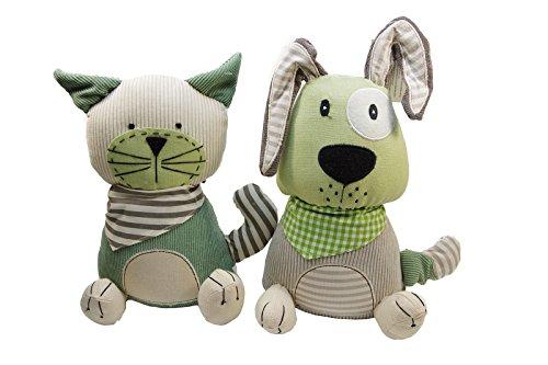 BOLTZE GRUPPE GmbH 1x Türstopper Patchwork Hund oder Katze grün beige H 27 cm, B 20 cm (1 Stück)