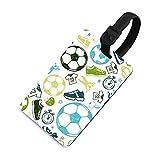 Etiqueta de equipaje suave para mujer, etiquetas identificadoras de bolsa con cubierta de privacidad, accesorios de etiqueta de viaje para maleta, avión, mochilas, patrón de fútbol deportivo