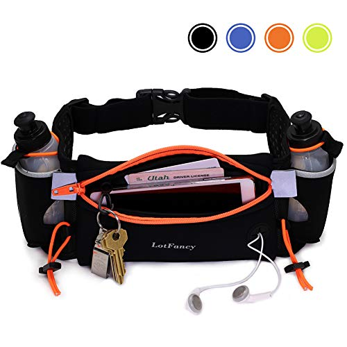 LotFancy Running Hydration Belt FREE 2 Water Bottle (BPA Free), Waist Belt Unisex Comfortable and...
