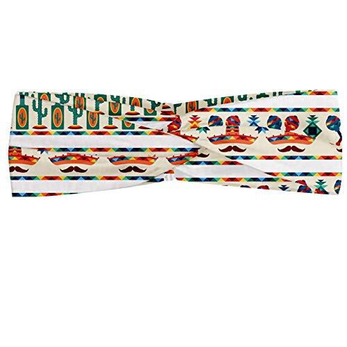 ABAKUHAUS Mexikaner Halstuch Bandana Kopftuch, Lateinamerikanische Kultur Ureinwohner Borders Indigene Saguaro Sombrero Tequila-Flasche, Elastisch und Angenehme alltags accessories, Mehrfarbig