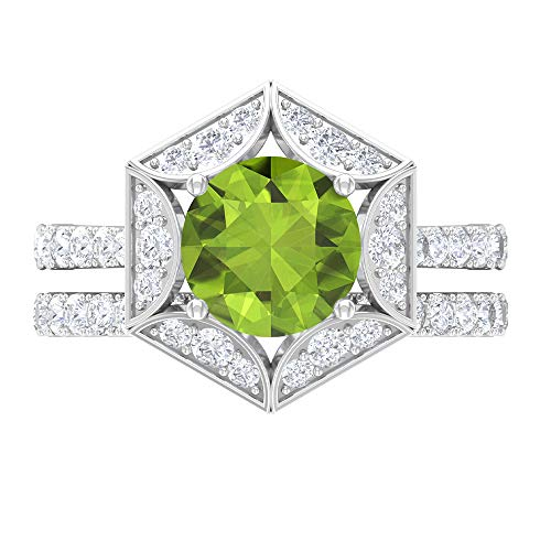 Rosec Jewels 14 quilates oro blanco cojín Round Brilliant Green Moissanite Peridot