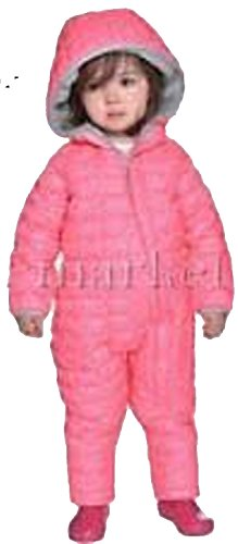Snozu Infant Toddler Baby Childs Hooded Snowsuit (3/6 Months, Pink/Light Gray Lining)