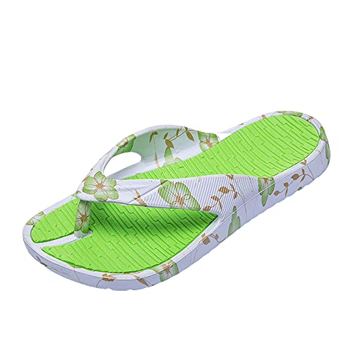 Jomix Chanclas de mujer de goma con cuña alta para casa, playa, piscina antideslizante, 08 verde, 36 EU