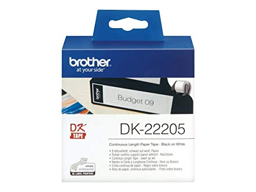 Brother DK-22205 Endlosetiketten (Papier, 62 mm breit, 30,48 m lang, für Brother QL-Etikettendrucker)