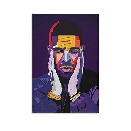 Poster su tela con immagine di jiandan Drake Rapper Wpap Rap Rock Hip Hop DJ Poster Aubrey Drake Graham Stampa artistica su tela con immagine di famiglia moderna, 60 x 90 cm