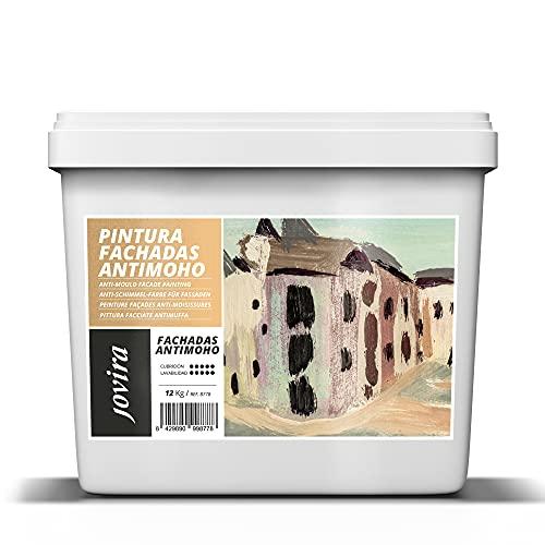 PINTURA FACHADAS ANTIMOHO, Repelente al agua, impermeable y anti fisuras. (CUBO 12 kg, BLANCO)
