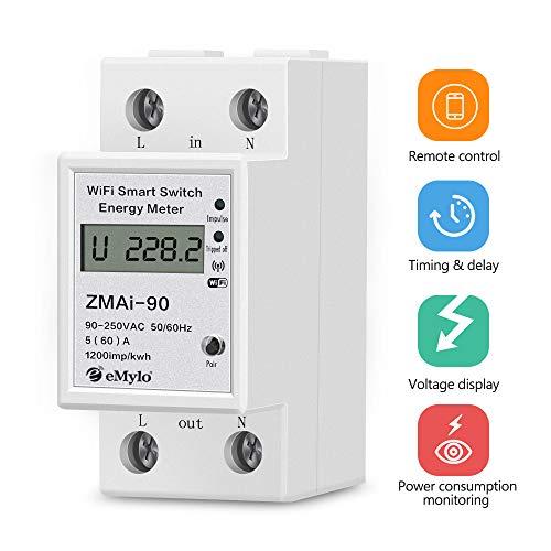 eMylo Medidor de energía Wifi inteligente Medidor de electricidad de riel DIN de 35mm monofásico 60A 90-250V Medidor eléctrico de Wifi con pantalla LCD digital Amperímetro kWh Potencia Monitor Metro
