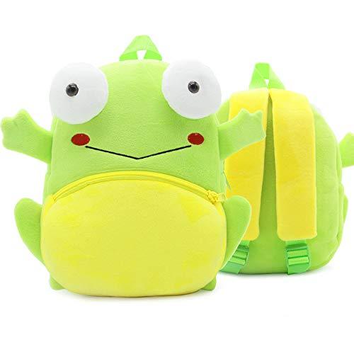 QXbecky Rucksack kinderzoo serie niedlich kindertasche leichter gewichtsverlust umhängetasche plüsch rucksack kindergarten früherziehung tasche mini rucksack frosch 24x10.5x26.5cm