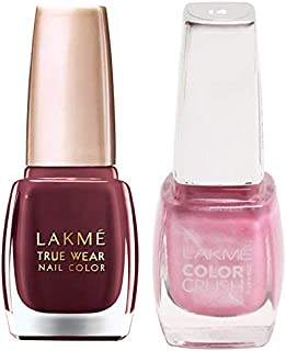 Lakmé True Wear Nail Color, Reds and Maroons 401, 9 ml & Lakmé True Wear Color Crush Nail Color, Shade 14, 9 ml