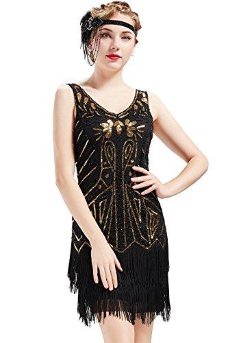 BABEYOND Años 20 Estilo Vintaje Vestido con Cuello en V Gatsby Disfraz Vestido con Flecos de Lentejuelas (Oro Negro, S)